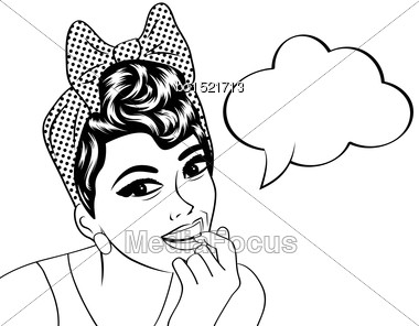 Pop Art Cute Retro Woman In Comics Style In Black And White, Vector Illustration Stock Photo