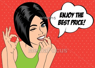 "Pop Art Cute Retro Woman In Comics Style With Message "" Enjoy The Best Price"" , Vector Illustration Stock Photo"