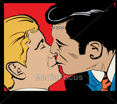 Pop Art Gay Couple Kissing, Comic Style Graphic Stock Photo