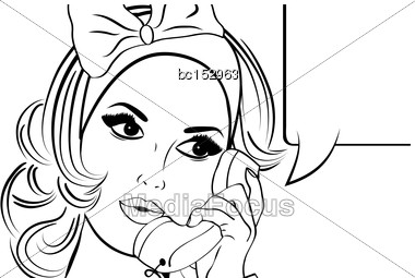 Pop Art Illustration Of Girl With The Speech Bubble In Black And White.Pop Art Girl. Party Invitation. Birthday Greeting Card.Vintage Advertising Poster. Fashion Woman With Speech Bubble Stock Photo