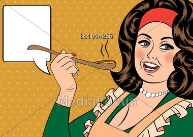 Pop Art Retro Woman With Apron Tasting Her Food. Vector Illustration Stock Photo