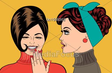 Pop Art Retro Women In Comics Style That Gossip, Vector Illustration Stock Photo