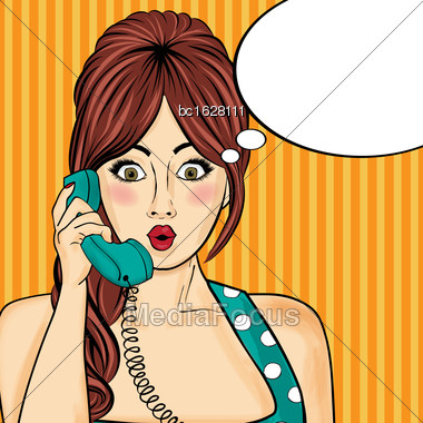 Pop Art Woman Chatting On Retro Phone . Comic Woman With Speech Bubble. Vector Illustration Stock Photo