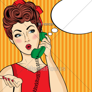 Pop Art Woman Chatting On Retro Phone . Comic Woman With Speech Bubble. Vector Illustration Stock Photo