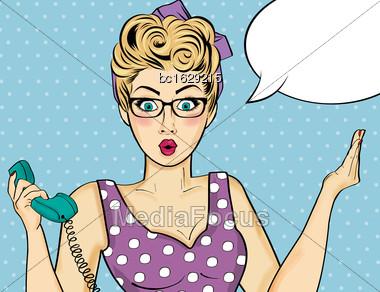 Pop Art Woman . Comic Woman With Speech Bubble. Vector Illustration Stock Photo