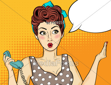 Pop Art Woman . Comic Woman With Speech Bubble. Vector Illustration Stock Photo