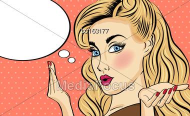 Pop Art Woman . Comic Woman With Speech Bubble. Pin Up Girl. Vector Illustration Stock Photo