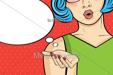 Pop Art Woman . Comic Woman With Speech Bubble. Pin Up Girl.Vector Illustration Stock Photo