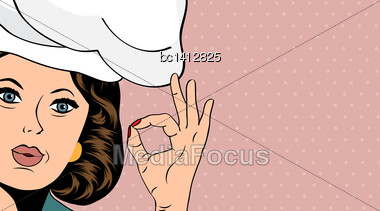 Pop Art Woman Cook, Illustration In Vector Format Stock Photo