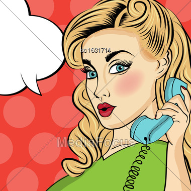 Pop Art Woman With Retro Phone.Comic Girl. Pin Up Woman. Vector Format Stock Photo