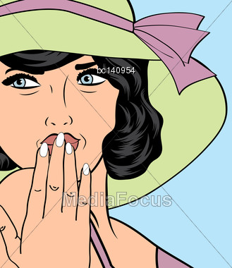 Popart Retro Woman With Sun Hat In Comics Style, Vector Summer Illustration Stock Photo