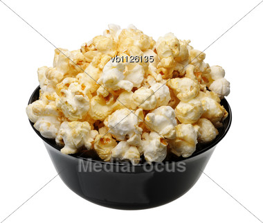 Popcorn In A Black Cup Stock Photo