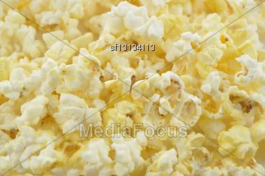 Popcorn , Close Up Shot For Background Stock Photo
