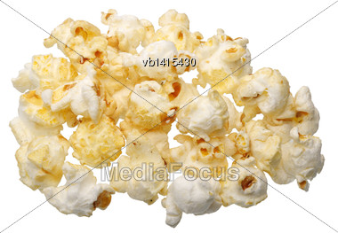 Popcorn On A White Background Close-up, Isolated Stock Photo