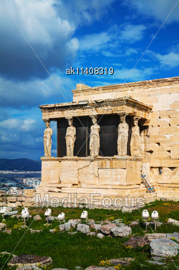 Porch Of The Caryatids At Acropolis In Athens, Greece Stock Photo