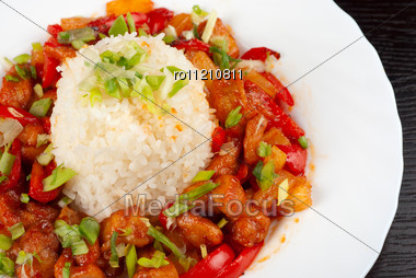 Pork Meat And Vegetables And Pineapple With Japanese Rice Stock Photo