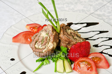 Pork Rolls With Cheese And Vegetables: Onion, Cucumbers, Tomatoes Stock Photo