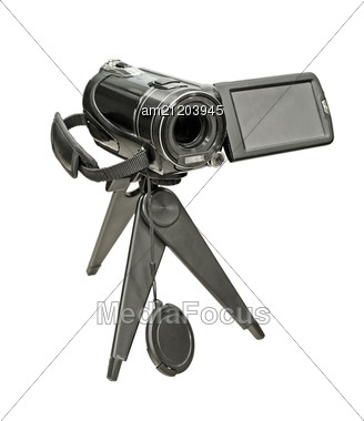 Portable Video Camera On A Tripod Stock Photo
