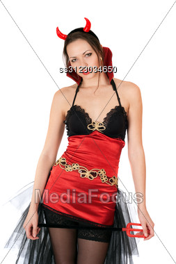 Portrait Of Amazing Girl Is Wearing A Sexy Devil Costume Stock Photo