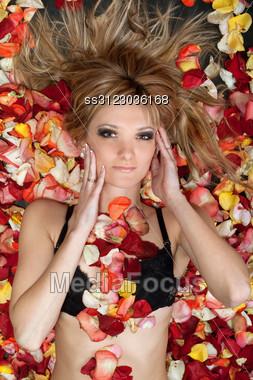 Portrait Of Attractive Blonde Lying In Rose Petals Stock Photo