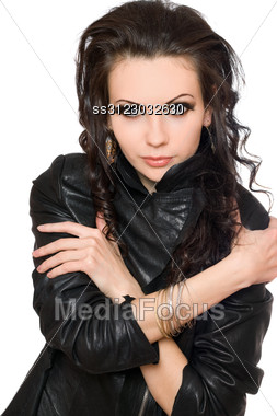 Portrait Of Attractive Young Brunette In Black Clothes. Stock Photo