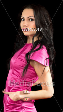 Portrait Of A Attractive Young Brunette. Isolated On Black Stock Photo