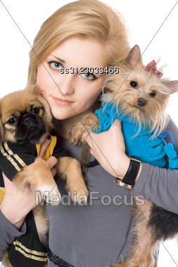 Portrait Of Beautiful Blonde With Two Dogs. Stock Photo