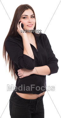 Portrait Of Beautiful Brunette Talking On The Phone. Isolated On White Stock Photo