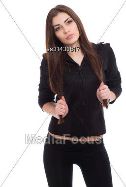 Portrait Of Beautiful Brunette Wearing Black Clothes. Isolated On White Stock Photo