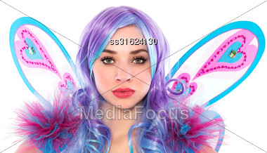 Portrait Of Beautiful Woman Dressed In Butterfly Costume. Isolated On White Stock Photo