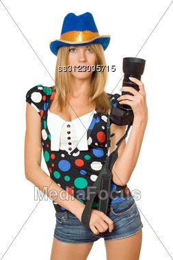 Portrait Of Beautiful Young Blonde With A Photo Camera Stock Photo