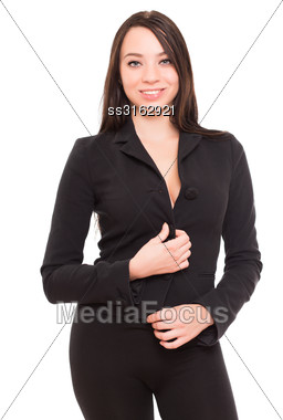 Portrait Of Beautiful Young Brunette Wearing Black Jacket. Isolated On White Stock Photo