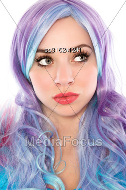 Portrait Of Beautiful Young Woman With Blue And Hair. Isolated On White Stock Photo