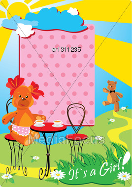 Portrait Border With Teddy Bears For A Little Baby Girl Stock Photo