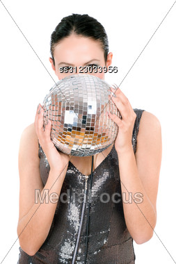 Portrait Of Brunette With A Mirror Ball In Her Hands. Stock Photo