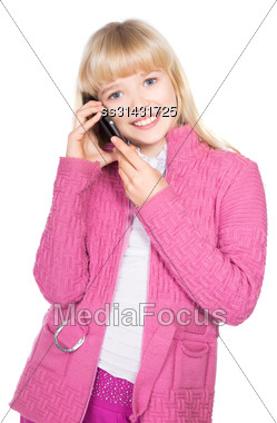 Portrait Of Cheerful Blond Girl Talking On The Phone. Isolated On White Stock Photo