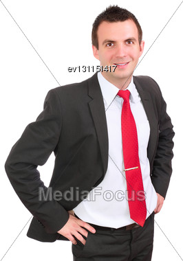 Portrait Of Cheerful Businessman In Suite. Isolated Over White Stock Photo