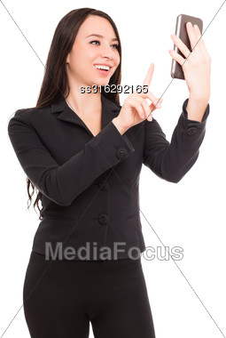 Portrait Of Cheerful Businesswoman With Smartphone. Isolated On White Stock Photo