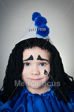 Portrait Child In Costume Piero On Gray Background Stock Photo