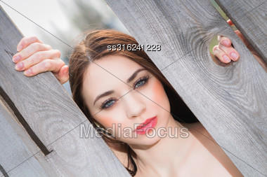 Portrait Of Cute Woman Behind The Wooden Fence Stock Photo
