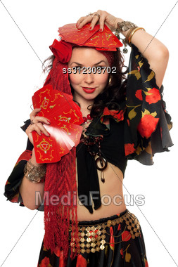 Portrait Of Expressive Gypsy Woman With Cards. Stock Photo