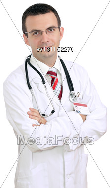 Portrait Of Friendly Medical Doctor With Cross A Hands. Isolated Stock Photo