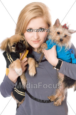 Portrait Of Lovely Blonde With Two Dogs. Stock Photo