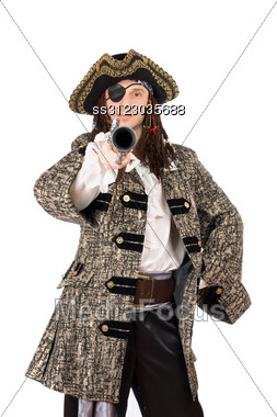 Portrait Of Man In A Pirate Costume With Pistol. Stock Photo