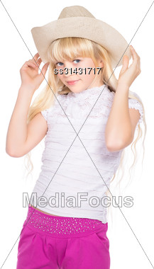 Portrait Of Nice Little Blond Girl In Stetson. Isolated On White Stock Photo