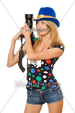 Portrait Of Nice Young Blonde With A Photo Camera Stock Photo