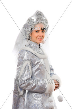 Portrait Of A Beautiful Snow Maiden. Stock Photo