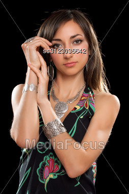 Portrait Of A Charming Young Brunette. Stock Photo