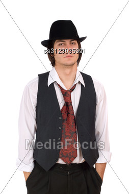 Portrait Of A Old-fashioned Young Man Stock Photo