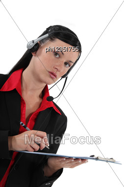 Portrait Of A Receptionist Stock Photo